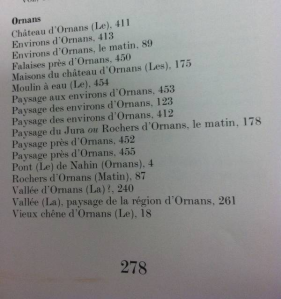 Photograph of index listing in Courbet's catalog showing the number of paintings depicting Ornans